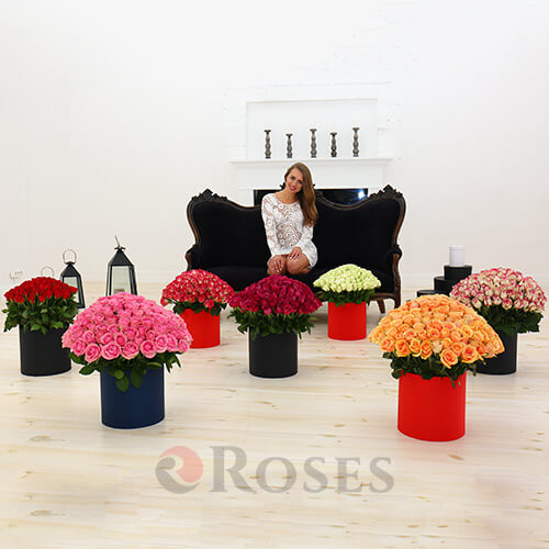 "Flowers in the box ""Monaco"" 1001 roses"